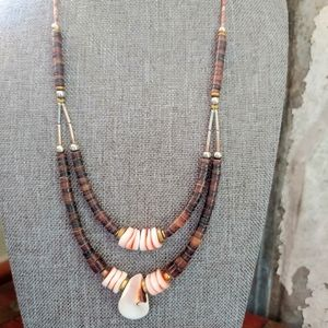 Vintage shell & silver boho necklace